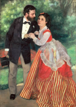 The Sisley Family of artist Pierre Auguste Renoir, Top, Tie, Life, 75cm, Wife, Dress, Woman, Family