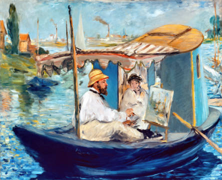 The Barge, Monet in his Floating Studio, 1874 of artist Edouard Manet as framed image