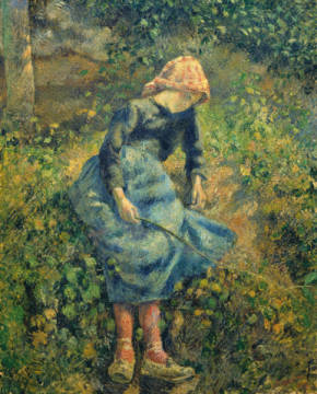 Girl with a Stick, 1881 of artist Camille Pissarro, Day, Oil, Child, French, Canvas, Seated, Fa00066, Sitting