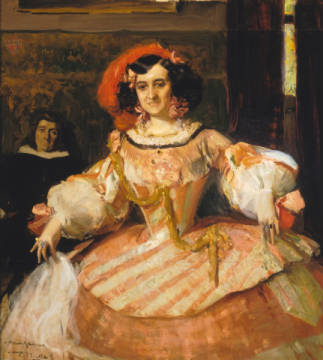 Portrait of Maria Guerrero, actress and director of Teatro Espanol in Madrid, 1906 of artist Joaquin Sorolla y Bastida, Arts, 19th, 20th, Early, World, Women, People, Actors