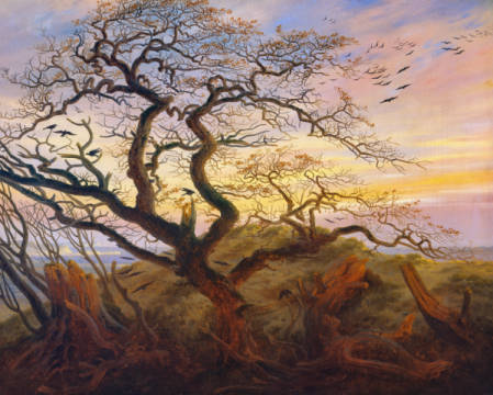 Tree with ravens of artist Caspar David Friedrich, 19th, 3-f8, Bird, Dead, 1822, Tree, David, Crypt