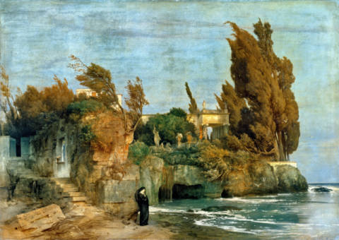 Villa by the Sea, 2nd edition of artist Arnold Böcklin, 123, 2cm, Oil, 173, Sea, 1865, Villa, Manor