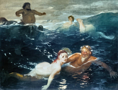 Playing in the Waves of artist Arnold Böcklin, 180, 5cm, Oil, Sea, Nix, Life, 19th, 7754