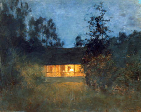 Landhaus in der Abenddämmerung of artist Isaak Iljitsch Lewitan, Who, Art, Dawn, That, Life, House, Patio, Lights