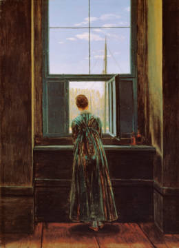 Woman at the window of artist Caspar David Friedrich as framed image