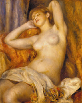 Sleeping woman of artist Pierre Auguste Renoir, Oil, Nude, Tits, 1897, Turn, 63cm, Woman, Young