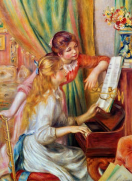 Two girls at the piano 1892 of artist Pierre Auguste Renoir, Two, Red, Turn, Love, Life, 90cm, Home, 1892