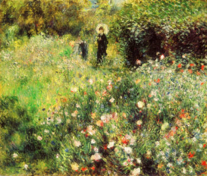 Woman with parasol in a garden of artist Pierre Auguste Renoir as framed image