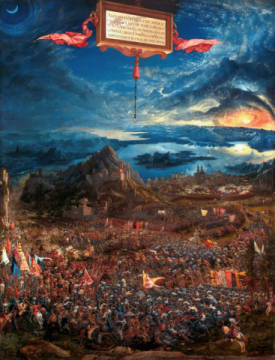 The Battle of Issus, or The Victory of Alexander the Great, 1529 of artist Albrecht Altdorfer, War, Sun, Iii, 158, 1529, Asia, Moon, Great