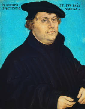 Martin Luther of artist Lucas Cranach der Ältere as framed image