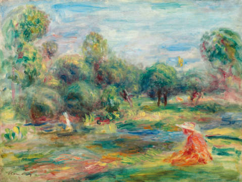 Landschaft bei Cagnes of artist Pierre Auguste Renoir, Near, Next, Scene, Idyll, France, Seated, Nature, French