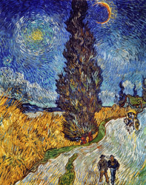 Cypress against a starry sky of artist Vincent van Gogh, Inv, Sky, Day, Van, Gogh, 19th, Road, Star