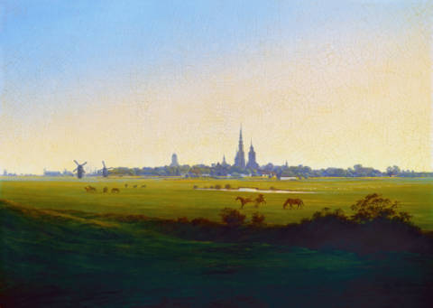 Meadows near Greifswald of artist Caspar David Friedrich, Oil, Near, 3-f8, Town, 1815, Field, Tower, Horse