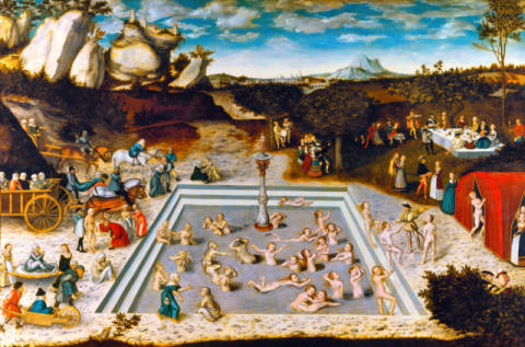 Der Jungbrunnen of artist Lucas Cranach der Ältere, Who, That, Take, Myth, Saga, Lime, Water, Bathe