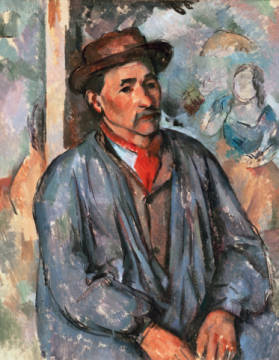 Bauer in blauer Bluse of artist Paul Cézanne as framed image