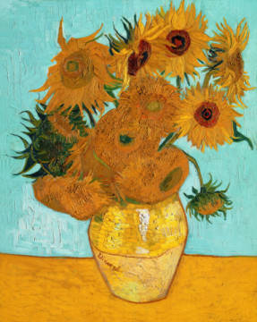 Vase with Sunflowers of artist Vincent van Gogh as framed image