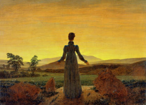 Sunset, Woman in morning sun of artist Caspar David Friedrich as framed image