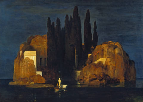 The Isle of the Dead, 1880 of artist Arnold Böcklin, Dgt, Tree, Tomb, Boat, Night, Rower, Vision, Shroud