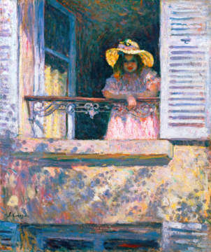 Junges Mädchen mit Sonnenhut am Fenster of artist Henri Lebasque, One, Hat, Cub, Well, Kids, Girls, Young, Maids