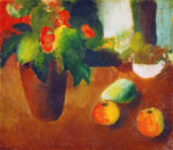 August Macke - Still Life with Begonia, Apples and Pear
