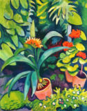 August Macke - Flowers in the garden, Clivia and geraniums