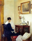Carl Holsoe - Mutter und Kind in einem Interieur