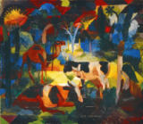 August Macke - Landscape with Cows and a Camel