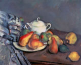 Paul Cézanne - Sugar bowl, apples and cloth
