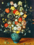 Jan Brueghel der Ältere - Flowers in blue vase