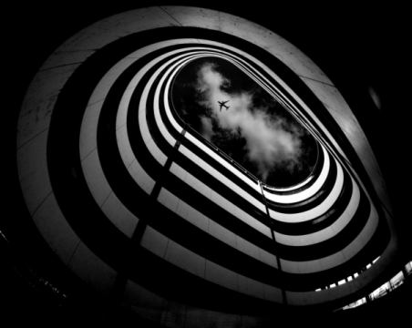 Hole of artist Koji Tajima, Gunma, Cloud, Japan, Spiral, Parking, Airplane, Conceptual