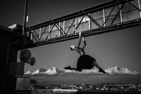 High above the sky of artist Martin Krystynek, Art, Dance, Model, Poprad, Fineart, Performing, Performance, Blackandwhite