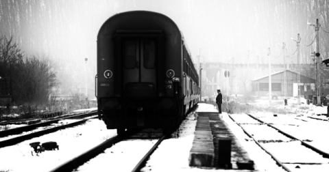 Railway station winter scene of artist Julien Oncete, Man, Mood, Cold, Train, Winter, Station, Talmaciu