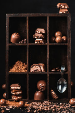 Chocolate collection of artist Dina Belenko as framed image