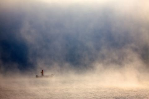 Fog of artist fproject - Przemyslaw Kruk, Fog, Boat, Mist, Person, Fishing, Seascape, Fisherman, Landscape