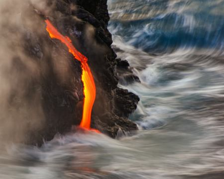 Emergent of artist Andrew J. Lee, Usa, Hot, Sea, New, Cold, Blue, Lava, Rocks