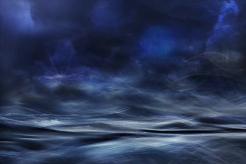 Lost at sea of artist Willy Marthinussen, Sky, Sea, Boat, Lost, Mood, Edit, Blue, World