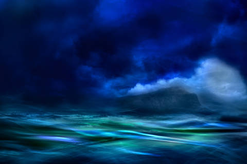 The island of artist Willy Marthinussen, Sky, Wave, Mood, Blue, Dream, Moody, Thule, Smoke