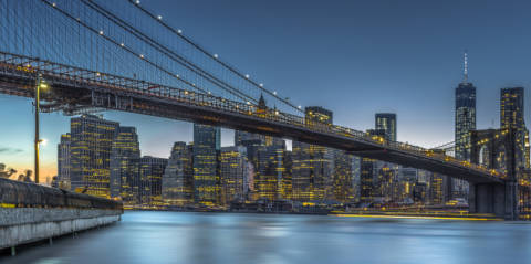 New York - Blue Hour over Manhattan of artist Michael Jurek as framed image