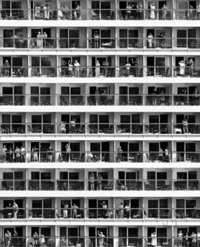 Mass Tourism of artist Franz Baumann, Boxes, Hotel, People, Floors, Windows, Balcony, Holiday, Tourism