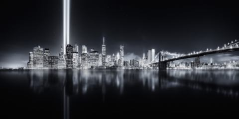 Unforgettable 9-11 of artist Javier de la Torre, New, Nyc, Usa, High, City, York, Beams, Urban