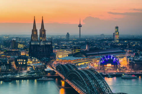 Cologne at dusk of artist Sergey Borisov, Sky, Dam, Dusk, Town, Tower, Style, Above, Cloud