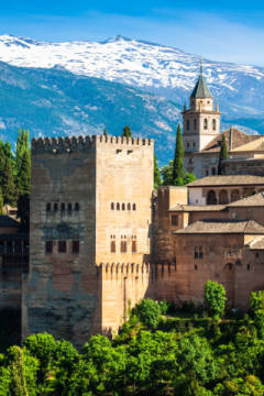 Arabic ancient fortress of the alhambra,granada,spain of artist Lukasz Janyst, View, Town, Nice, Blue, Tree, Style, World, Spain