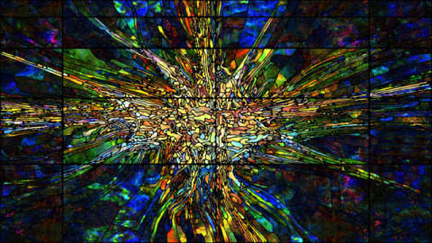 Digital Stained Glass of artist Andrew Ostrovsky as framed image