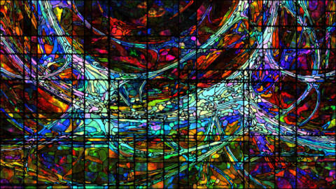 Virtual Stained Glass of artist Andrew Ostrovsky as framed image