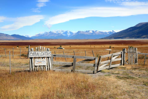 Overview of South Patagonia farmland of artist Fabrice Michaudeau, Ride, Sign, View, Sight, Field, Fence, South, Summer