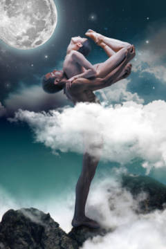 Couple of ballet dancers posing over gray fantasy background of artist Volodymyr Melnyk as framed image