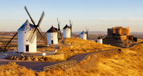 Windmills with castle, Consuegra, Castile-La Mancha, Spain of artist Richard Semik as framed image