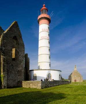 Lighthouse and ruin of monastery, Pointe de Saint Mathieu, Brittany, France of artist Richard Semik, Style, Vista, Sight, France, Sights, Safety, Travel, History