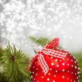 Erika Eros - Holiday background with red Christmas balls