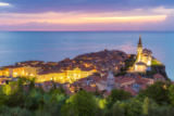 matej kastelic - Romantic colorful sunset over picturesque old town Piran, Slovenia.